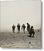 U.s. Army Captain Provides Security Metal Print