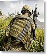 U.s. Army Mk48 Machine Gunner Patrols Metal Print