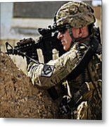 U.s. Army Sergeant Pulls Security While Metal Print