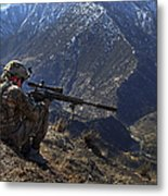 U.s. Army Sniper Provides Security Metal Print