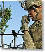 U.s. Army Soldier Calls For Indirect Metal Print