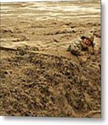 U.s. Army Soldier Fights Racing Water Metal Print
