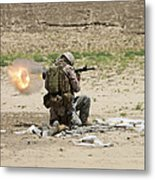 U.s. Army Soldier Fires Metal Print
