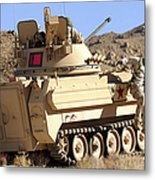 U.s. Army Soldier Jumps Off An M113 Metal Print