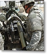U.s. Army Soldier Loads A 105mm Metal Print