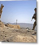 U.s. Army Soldier On A Foot Patrol Metal Print