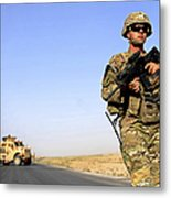 U.s. Army Soldier On Patrol Metal Print