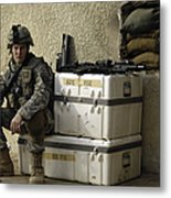 U.s. Army Soldier Relaxing Before Going Metal Print