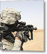 U.s. Army Soldier Scans The Horizon Metal Print by Stocktrek Images