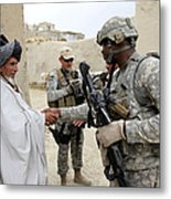 U.s. Army Soldier Shakes Hands With An Metal Print