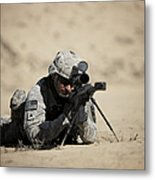 U.s. Army Soldier Sights In A Barrett Metal Print