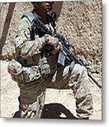 U.s. Army Soldier Takes A Knee While Metal Print