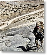 U.s. Army Soldiers And Afghan Border Metal Print