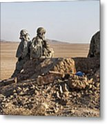 U.s. Army Soldiers At A Checkpoint Metal Print