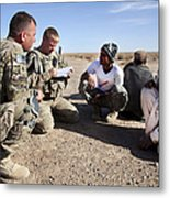U.s. Army Soldiers Speak With Elders Metal Print