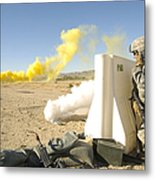 U.s. Army Specialist Calls In For An Metal Print