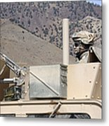 U.s. Army Specialist Scans His Sector Metal Print