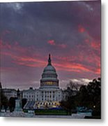 Us Capitol - Pink Sky Getting Ready Metal Print