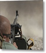 U.s. Contractor Firing The Pkm 7.62 Metal Print