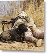 U.s. Marine And A Military Working Dog Metal Print