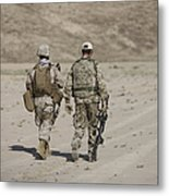 U.s. Marine And German Soldier Walk Metal Print