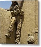 U.s. Marine Climbs Down From An Metal Print
