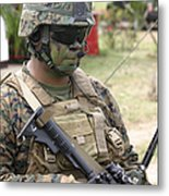 U.s. Marine Communicates Via Radio Metal Print
