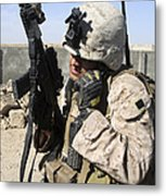 U.s. Marine Communicates With Fellow Metal Print