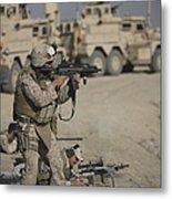 U.s. Marine Fires A G36k Carbine Metal Print