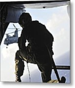 U.s. Marine Looks Out The Back Metal Print