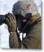 U.s. Marine Looks Metal Print