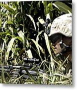 U.s. Marine Maintains Security Metal Print