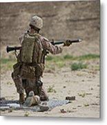 U.s. Marine Prepares A Fragmentation Metal Print