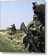 U.s. Marine Uses A Radio Metal Print