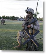 U.s. Marine Utilizes A Satellite Radio Metal Print