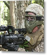 U.s. Marine Videotapes Combat Exercises Metal Print
