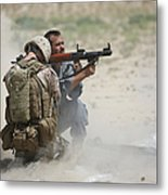 U.s. Marine Watches An Afghan Police Metal Print by Terry Moore