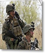U.s. Marines Communicate Metal Print