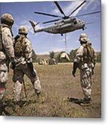 U.s. Marines Observe Ch-53e Super Metal Print