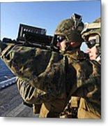 U.s. Marines Practice Firing Metal Print