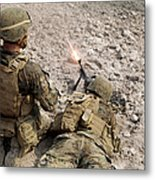 U.s. Marines Provide Suppressive Fire Metal Print