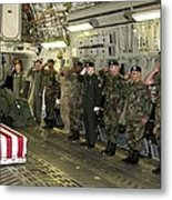 U.s. Military Personnel Salute The Flag Metal Print