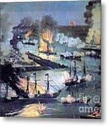 U.s. Navy Destroys Rebel Gunboats Metal Print