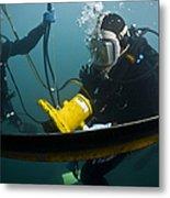 U.s. Navy Diver Instructs A Barbados Metal Print