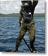 U.s. Navy Diver Jumps Off A Dive Metal Print