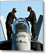 U.s. Navy Sailors Wipe Down The Canopy Metal Print