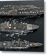U.s. Navy Ships Conduct A Replenishment Metal Print