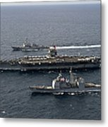 U.s. Navy Ships Transit The Atlantic Metal Print