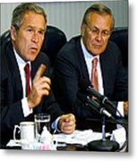 U.s. President George W. Bush Answers Metal Print