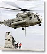 U.s. Sailors Assist A Ch-53d Sea Metal Print